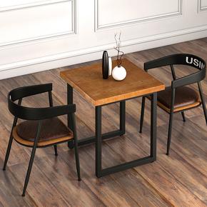 美式实木小餐桌铁艺简约四方桌西餐厅桌椅组合家用工业风2人歺桌