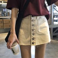 韩版新款春季休闲裤裙纽扣开衫牛仔短裙女半身裙中长款学生超短裙