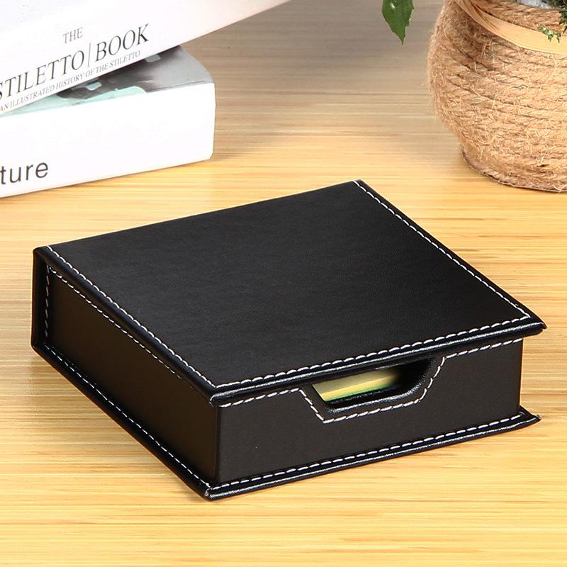 皮质皮革桌面便签盒 创意小储物盒 商务办公用品