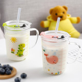 Household children with scale milk cup with lid handle breakfast transparent straw glass cup microwave oven can be heated