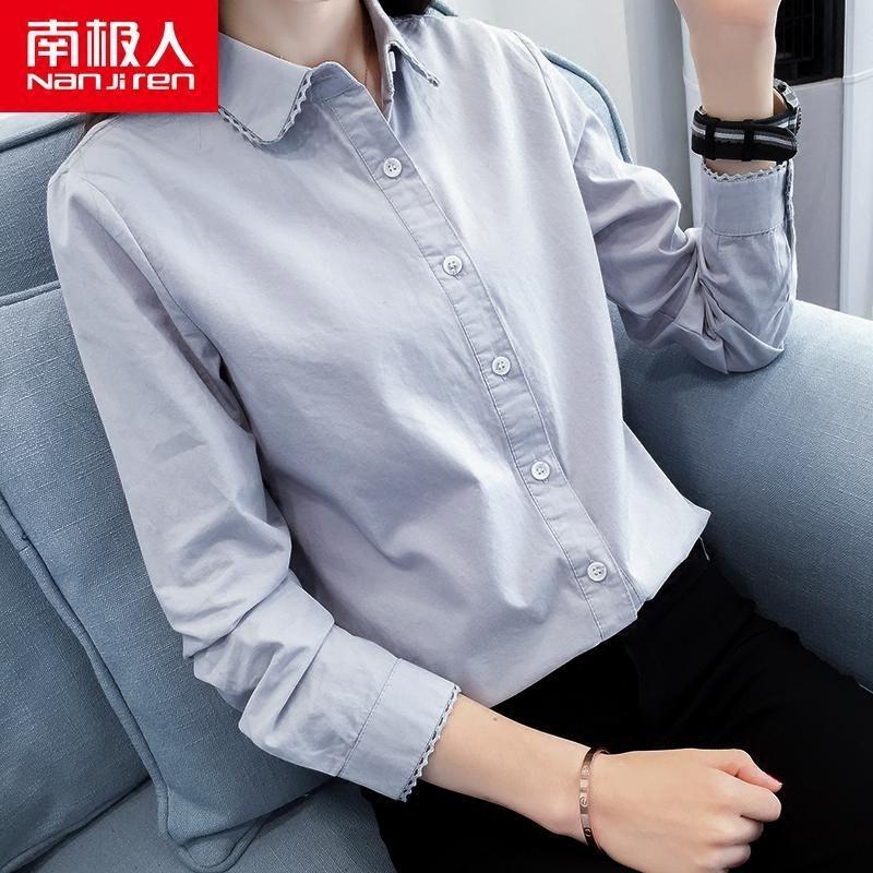 领口刺绣衬衫女