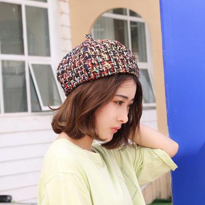 秋冬季女士贝雷帽复古彩色毛线帽子报童帽休闲韩版条纹时尚画家帽