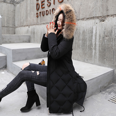 棉衣新款女2018冬加厚加长款大毛领羽绒棉服显瘦大码过膝棉袄外套