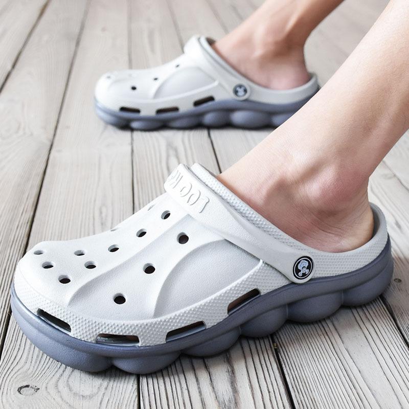 洞洞鞋潮沙滩鞋凉拖鞋防滑软底两用鞋外穿潮流包头凉鞋大头拖鞋男