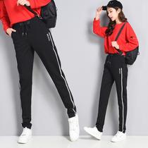 加长休闲裤女高个子超长新款高腰百搭哈伦裤宽松显瘦175小脚裤潮