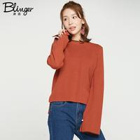 冰洁春季时尚纯色毛衣韩版时尚开口袖毛衫休闲毛衣J1706002W