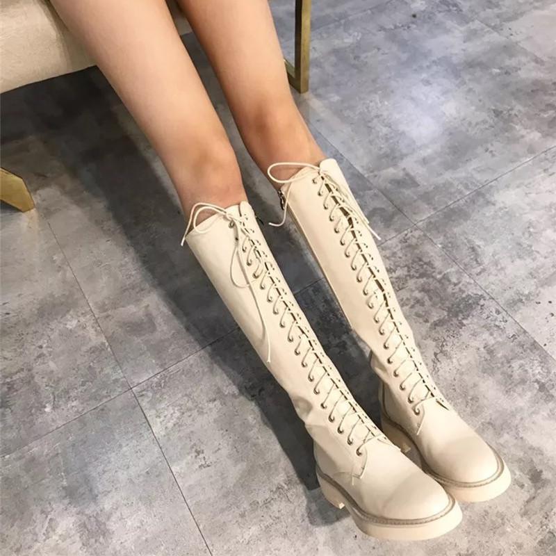 欧美时尚绑带厚底平底鞋中跟高筒靴马丁长靴骑士机车米白色女靴子