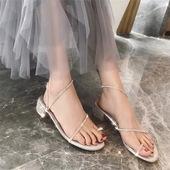 粗跟中跟露趾度假沙滩罗马凉鞋 水钻缠绕绑带套趾平底鞋 夏欧美时尚