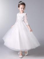 儿童晚礼服女走秀女童模特白色公主裙钢琴表演服婚礼花童蓬蓬裙子