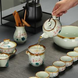 景德镇手绘功夫茶具套装简约家用纯手工青花瓷荷花陶瓷茶壶茶杯子