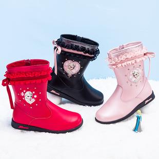 富罗迷童鞋女童真皮靴迪士尼儿童靴子冬新款冰雪奇缘公主雪地棉靴