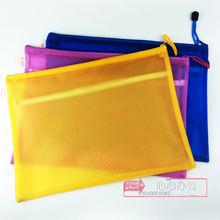 Port and double color paper bags A4 ticket waterproof zipper bags thickened braided side bags information bags collection bags