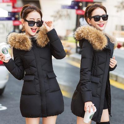 棉衣女韩版2018冬季新款中长款毛领修身显瘦反季加厚棉袄大码外套