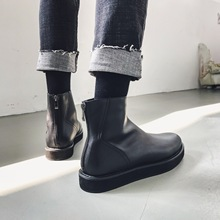 British retro Chelsea leather shoes hairdresser Gao Bang bright leather muffin shoes Korean version men's boots fashion boots