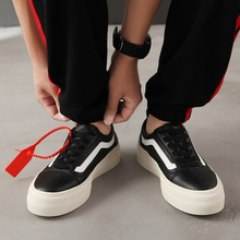 2018 autumn men's shoes leather youth hit color low to help casual shoes Korean men's thick-soled platform shoes sneakers