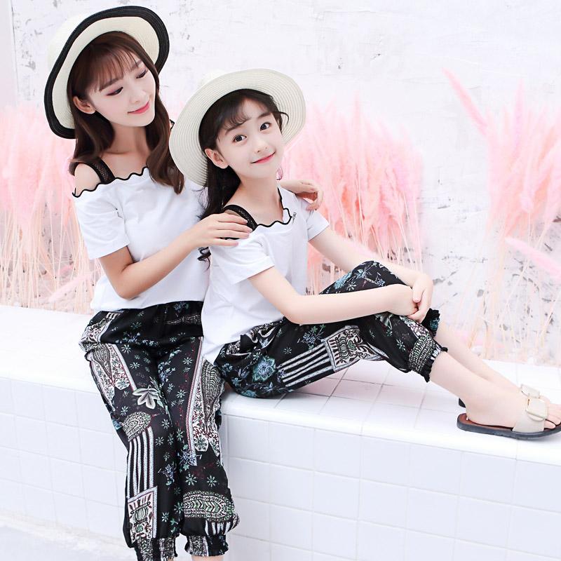 潮时髦女韩版洋气女夏装新款母套装2019