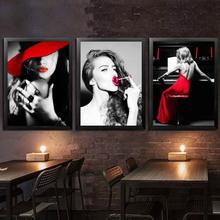 酒吧KTV装饰画咖啡厅直播间女人壁画嘴唇服装美发美甲美容店挂画