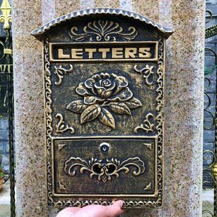 欧式别墅铸铝信箱室外铁艺挂墙带锁报箱田园镀锌防雨复古邮筒
