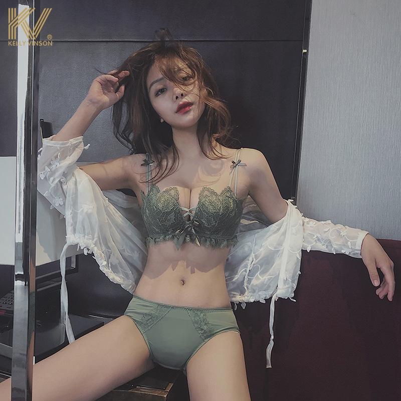 美背内衣女无钢圈小胸聚拢性感文胸蕾丝无痕胸罩套装夏季防下垂