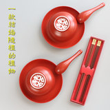 My companion hand gift wedding red bowl set happy bowl chopsticks gift box creative high-end practical gifts to bestie friends