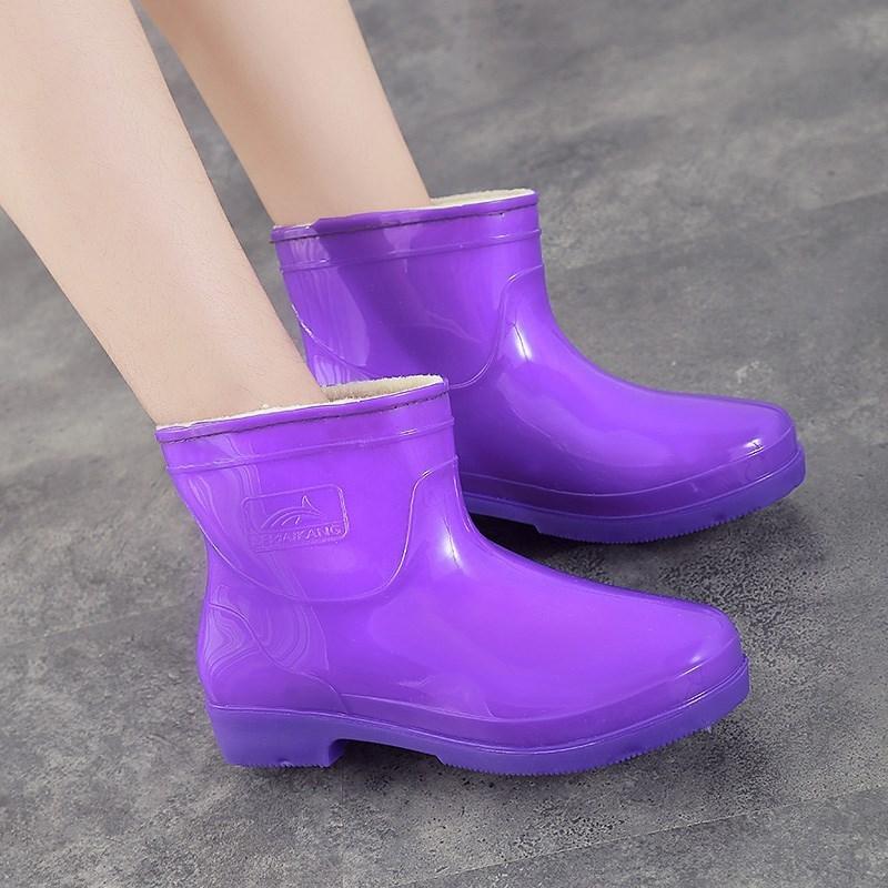 粉色胶鞋加绒雨鞋妈妈洗车老年人外面靴子女人防水里面百搭百货大