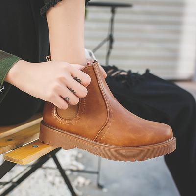 欧美圆头短靴女2018秋冬英伦马丁靴套筒懒人时尚百搭女靴平跟皮鞋