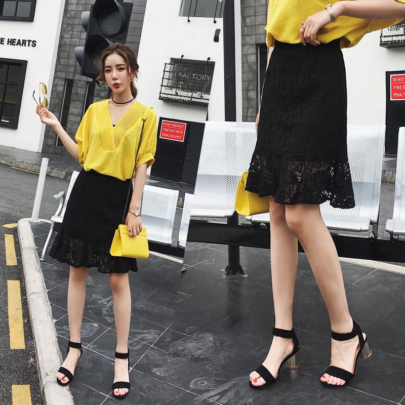 2017新款时尚网纱高腰包臀裙子韩版百搭黑色a字裙蕾丝半身裙女夏5元优惠券