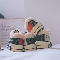 二棉鞋女低帮2018新款学生韩版帆布鞋原宿ulzzang平底基础款保暖
