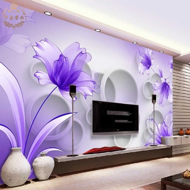 简约客厅电视背景墙壁纸壁画影视墙布3d立体沙发紫色花朵装饰墙纸