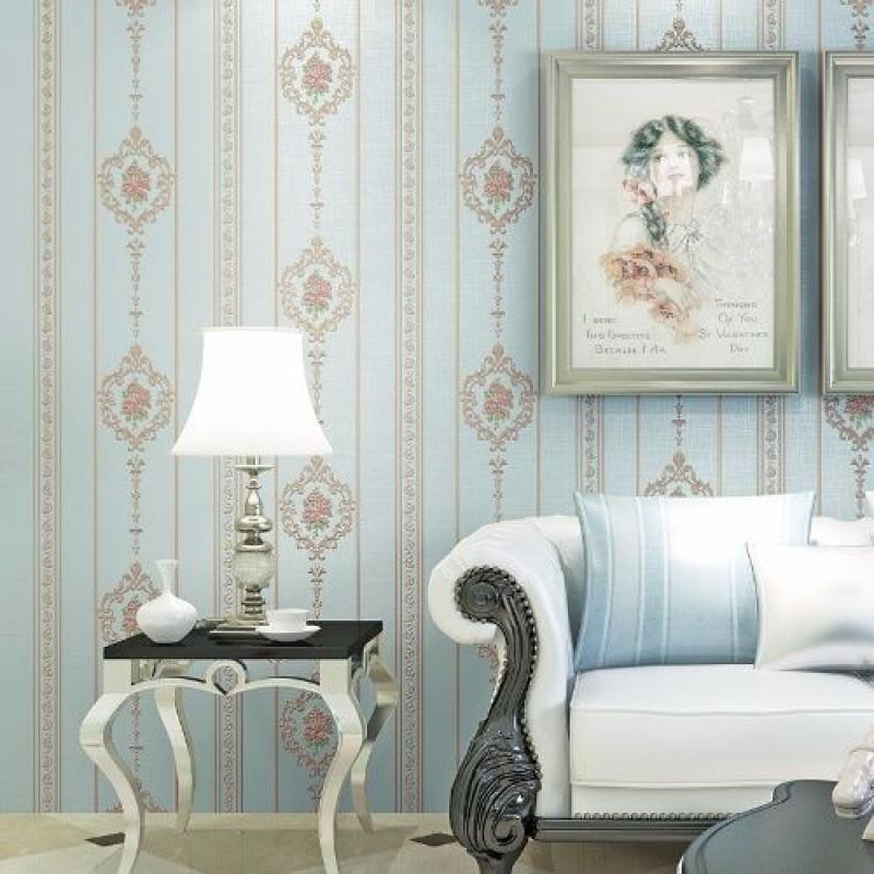 田园4D立体欧式竖条雕刻植绒工艺绒面柔软透气环保客厅卧室墙纸