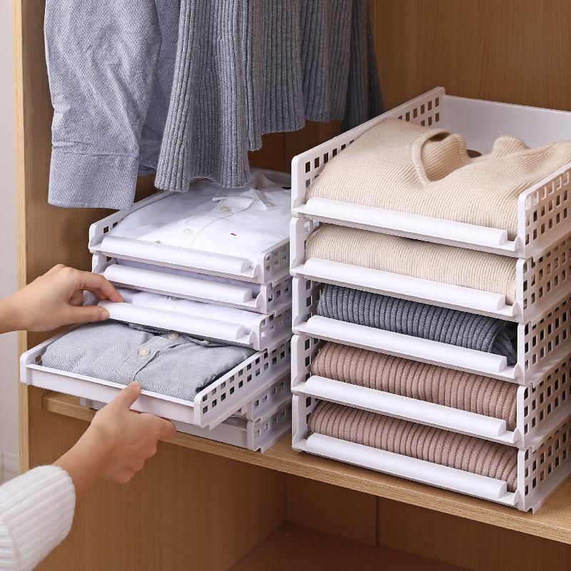 懒人衣柜叠衣板可抽分层隔板衬衣裤子收纳神器衣服T恤折叠整理架