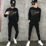 2019 autumn new trend network red suit male Korean version of the casual long-sleeved two-piece social spirit guy set