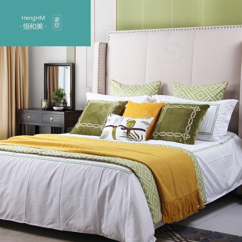 恒和美美式床品样板房简约轻奢展厅家具店软装床上用品多件套样板