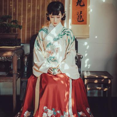 钟灵记凤来仪交领汉服女琵琶袖明制袄裙长袄传统秋冬装红色马面裙