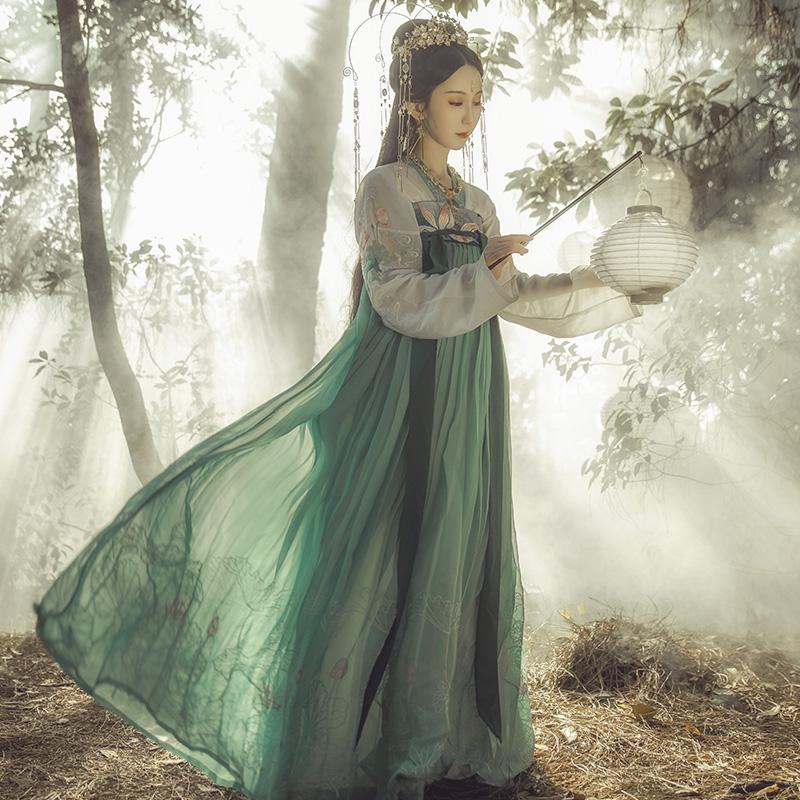 钟灵记般若齐胸襦裙对襟齐腰汉服女改良春夏秋冬装传统绿重工大摆