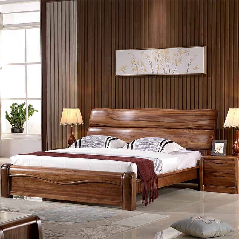 现代中式原木床