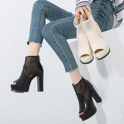 2018欧美新款鱼嘴高跟鞋网纱鞋透气网面凉鞋女防水台粗跟女鞋凉靴
