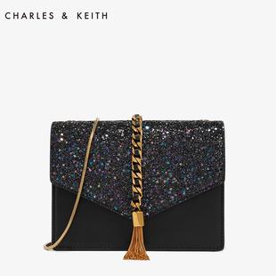 CHARLES&KEITH信封包CK2-20160030流苏装饰单肩链条小方包