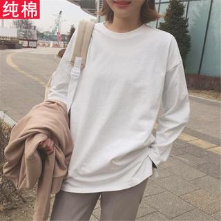 春秋装韩版圆领白色T恤女长袖中长款上衣宽松百搭纯棉内搭打底衫