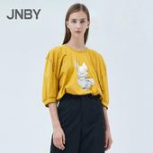 商场同款 印花短袖 JNBY 江南布衣2019夏新品 T恤女5JB611350
