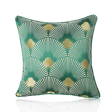北欧样板间软装抱枕祖母绿多色扇形提花丝绸酒店家居靠包靠垫靠枕
