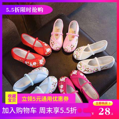 新款儿童古装民国表演舞蹈鞋女老北京绣花鞋演出舞蹈鞋现代舞布鞋