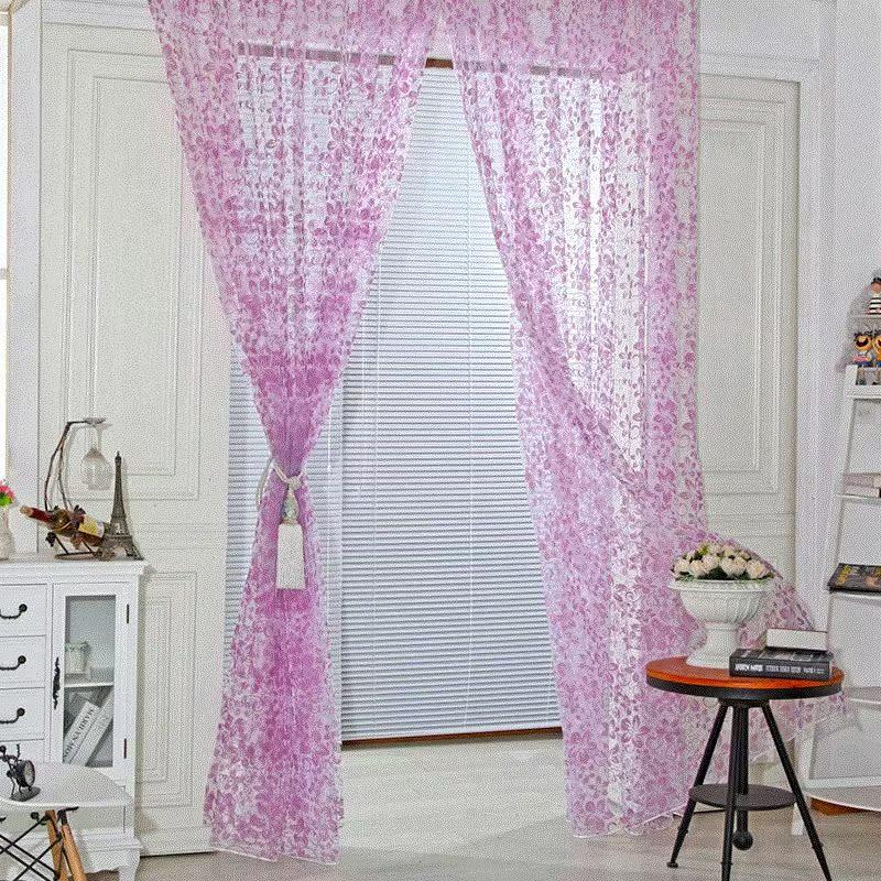 厨房卧室门新的薄纱窗帘植绒图案