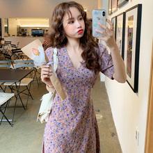 【百分百】韩国代购女装2019夏,紫色小碎花短袖V领连衣裙短裙