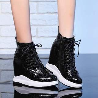 专柜正品牌秋冬季超高跟漆皮厚底高帮鞋内增高10cm女鞋旅游休闲运