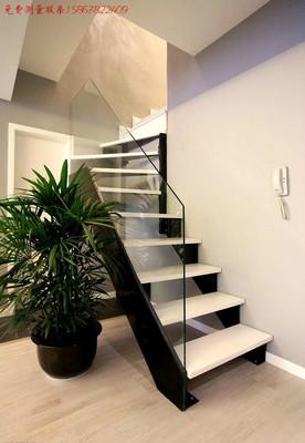 复式阁楼楼梯 宁波绍兴台州双梁钢板 实木玻璃扶手 现代风格牢固爆款