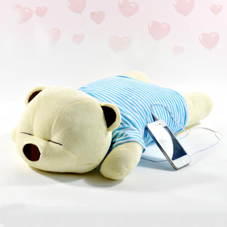 【】趴趴熊蓝牙音乐枕头抱枕绒玩具创意生日情人节礼物送男女友闺