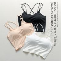 交叉美背中长款棉质内搭吊带背心带胸垫运动内衣打底裹胸抹胸少女