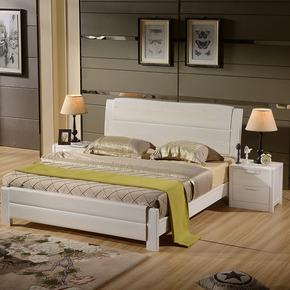 实木床1.8双人床1.5米储物床1.35/1.2气压高箱床榆木床全实木婚床