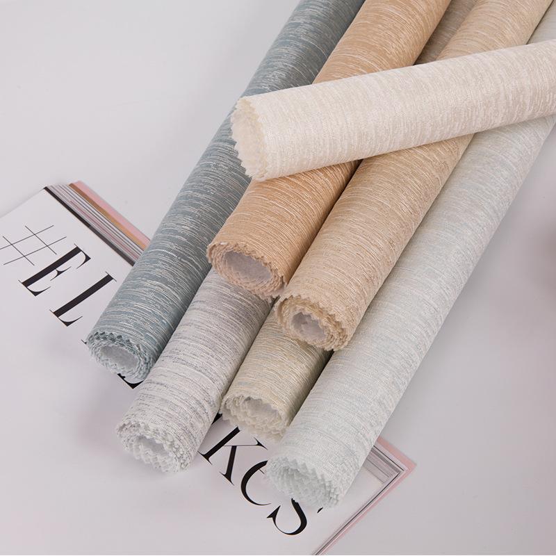 新款现代简约阳离子素色棉麻料无缝壁布 电视背景墙提花墙布